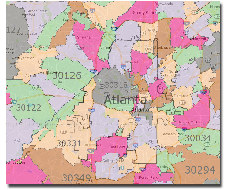 map of atlanta zip codes City Of Atlanta What S Inside And What S Outside The City Limits map of atlanta zip codes